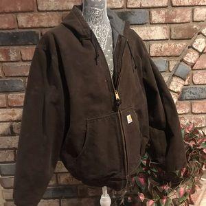 CARHARRT heavy duty hooded front zippered jacket